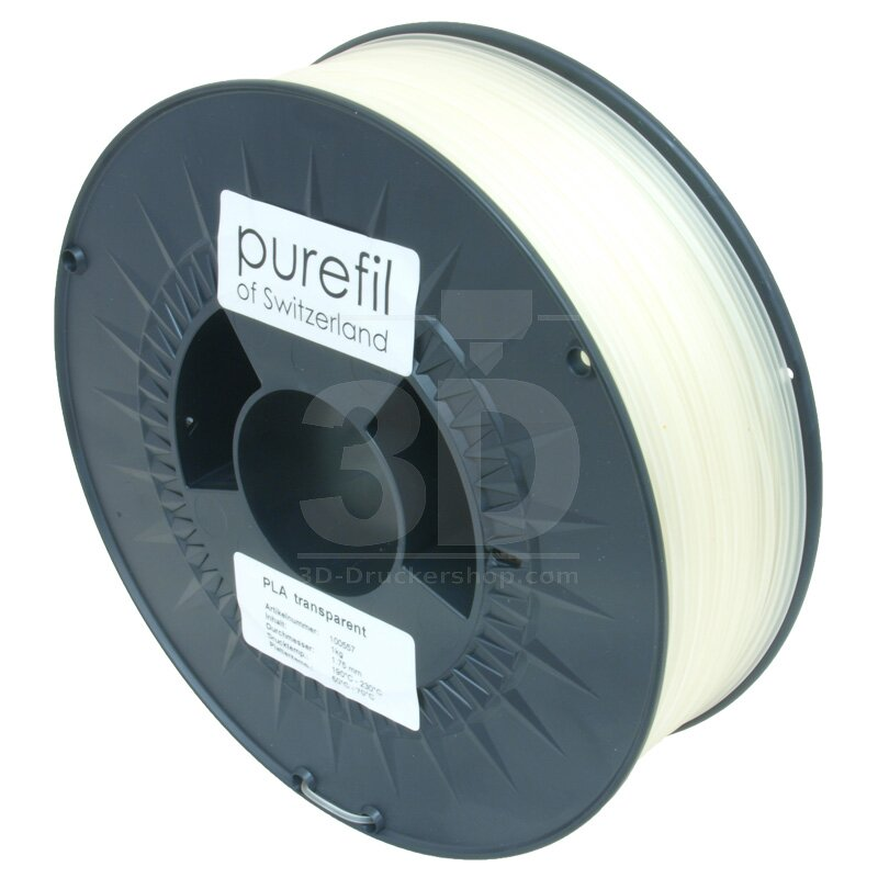 Filament PLA purefil of Switzerland 1.75 mm transparent 1 kg Ansicht Spule