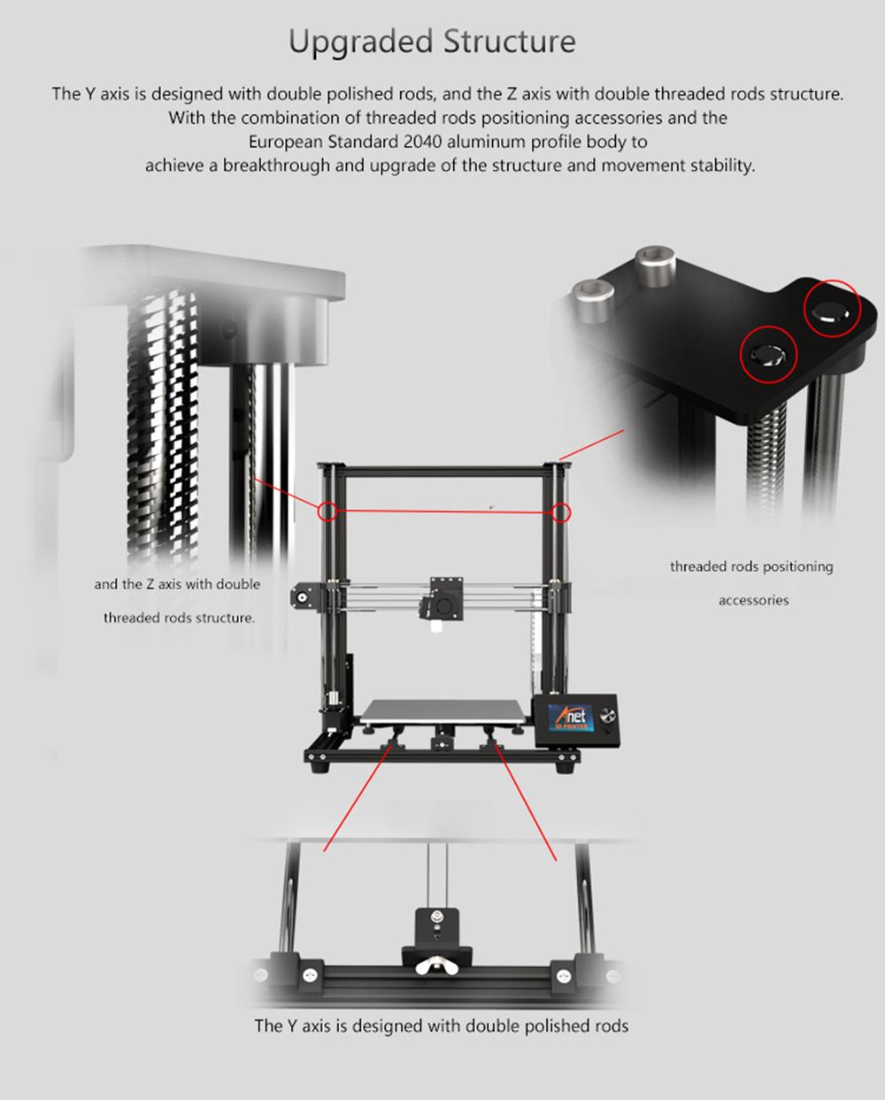 Anet A8 Plus 3D-Drucker Bausatz - 300x300x350mm - Verbesserte Rahmenstruktur