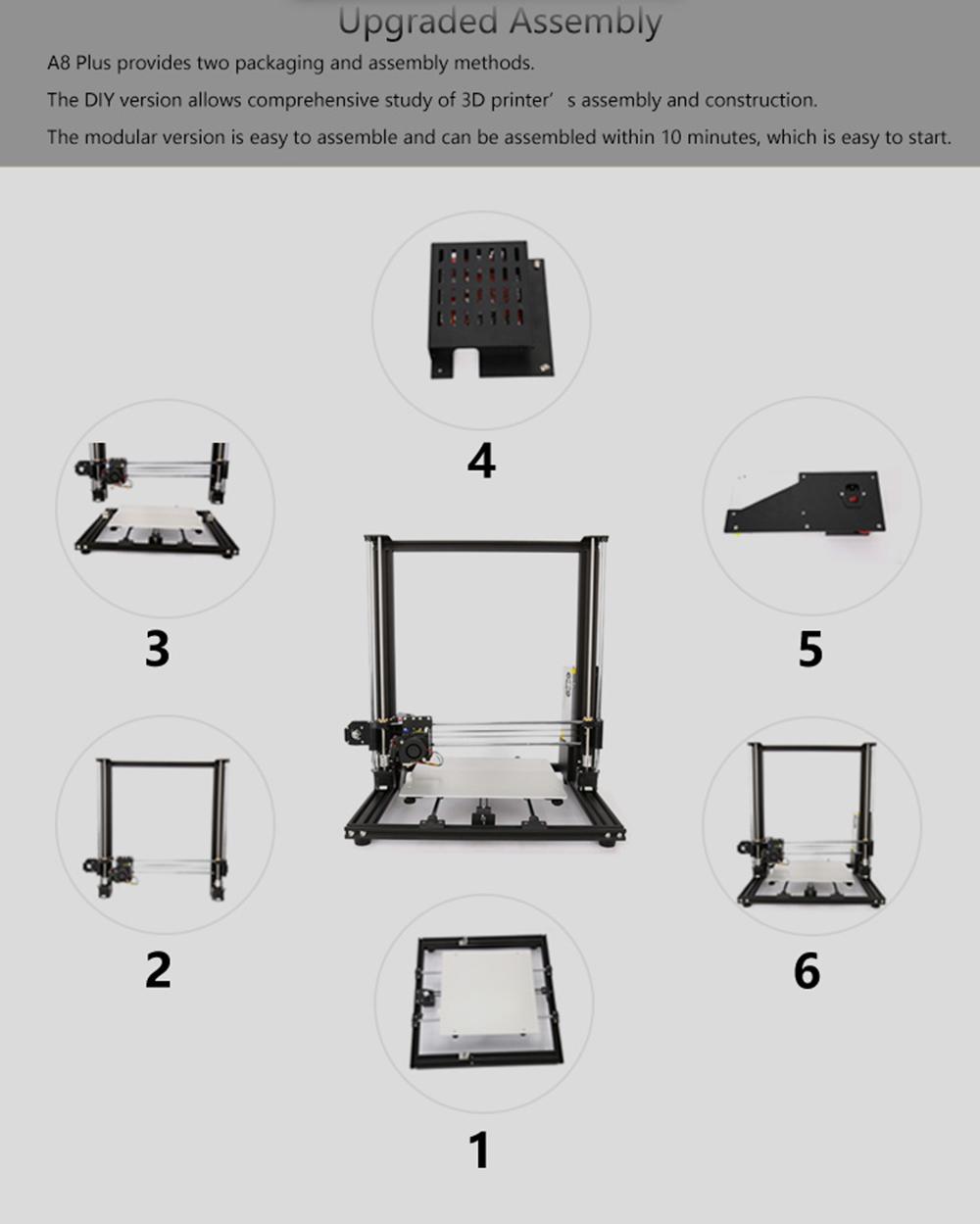 Anet A8 Plus 3D-Drucker Bausatz - 300x300x350mm - Übersicht der einzelnen Baugruppen
