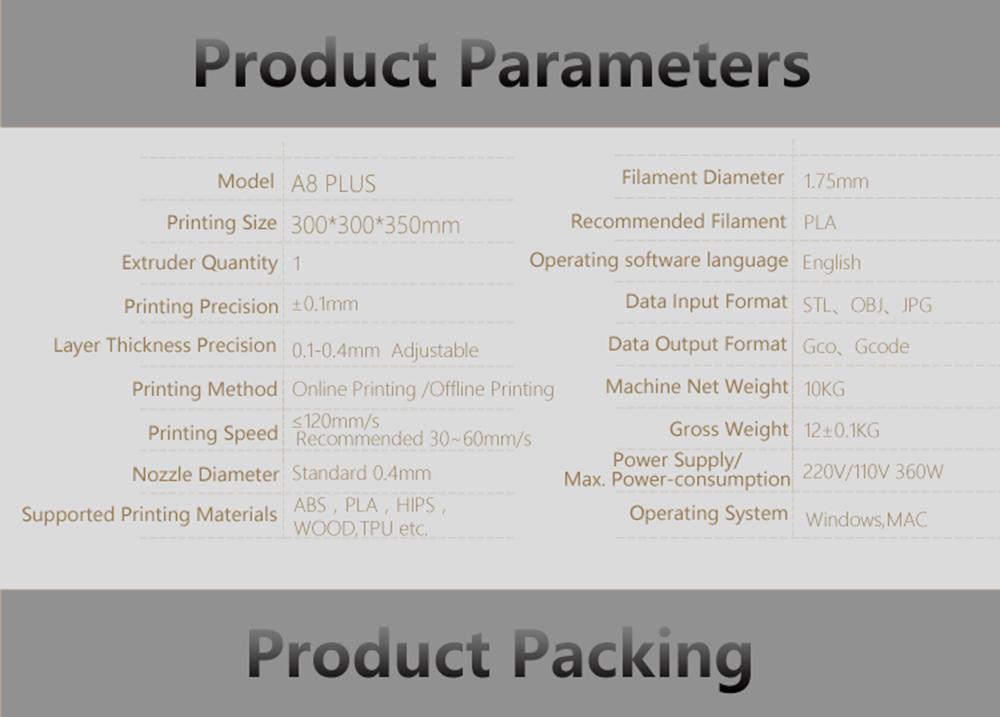 Anet A8 Plus 3D-Drucker Bausatz - 300x300x350mm - Technische Daten