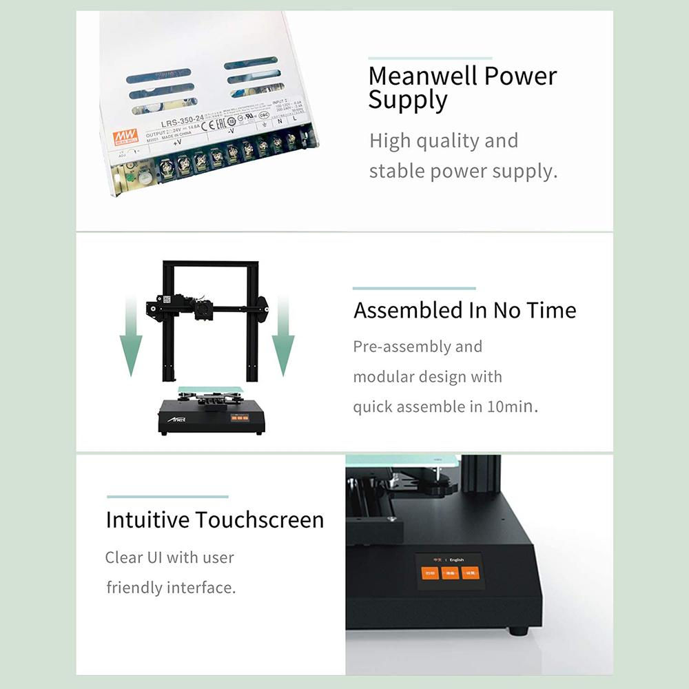Anet ET4 Pro 3D-Drucker Bausatz - 220x220x250mm - Meanwell Netzteil - kurze Aufbauzeit - Intuitiver Touch Screen Display