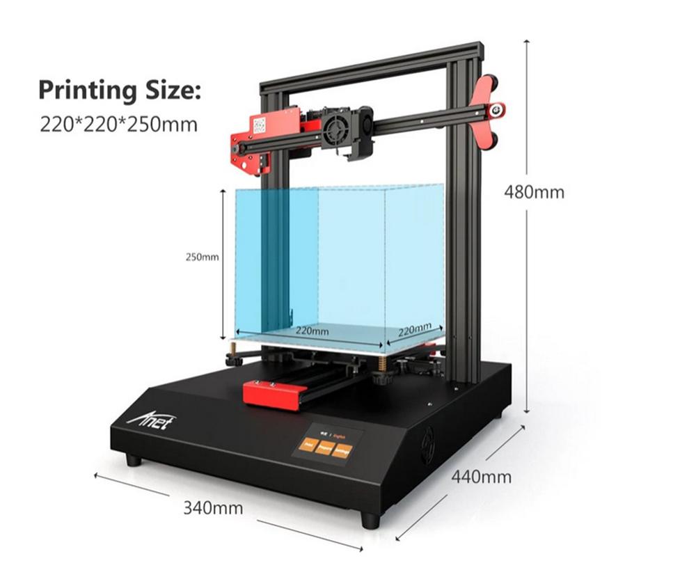 Anet ET4 3D-Drucker Bausatz - 220x220x250mm - Bauraumgröße - Druckergröße