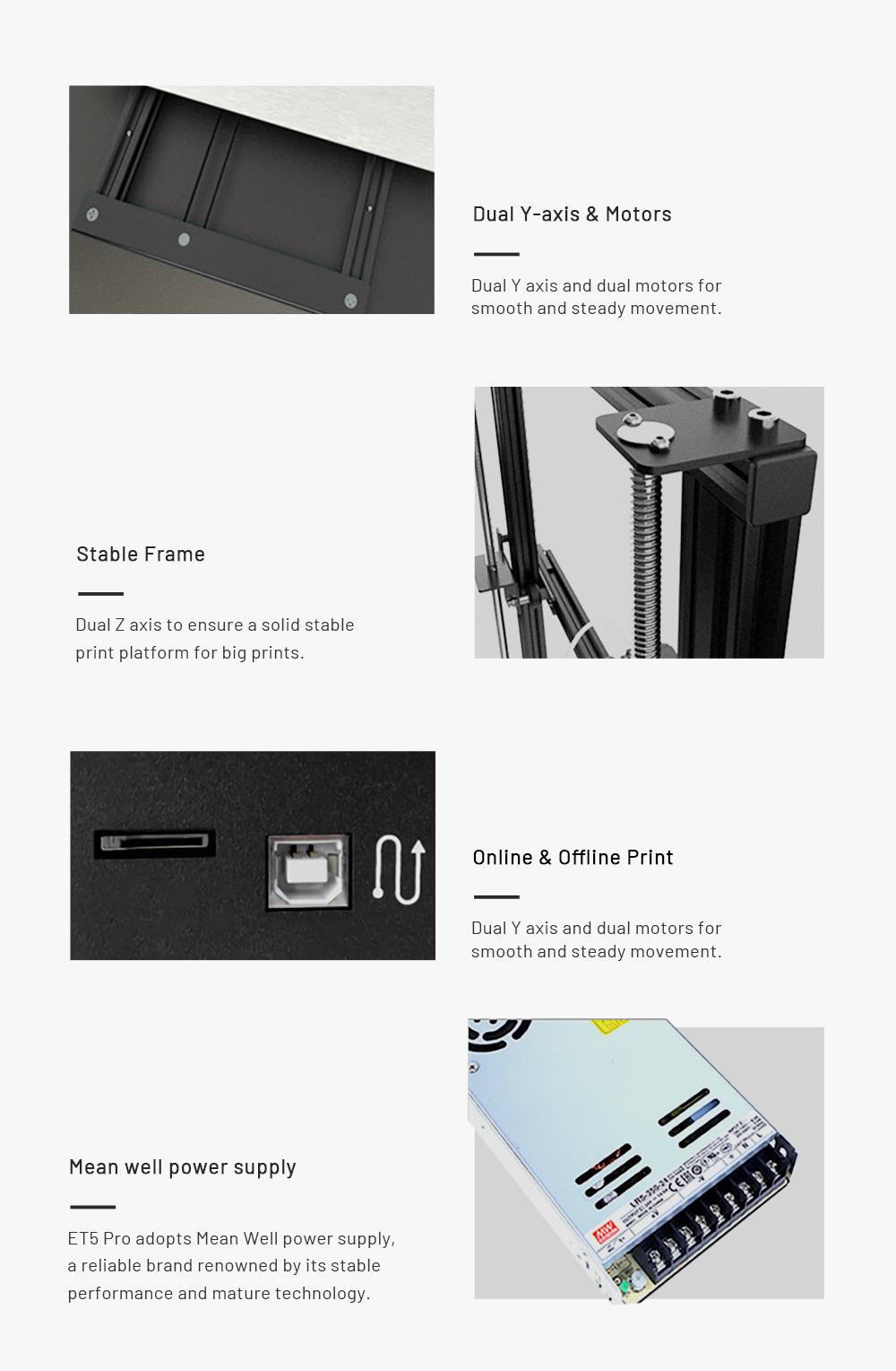Anet ET5 Pro 3D-Drucker Bausatz - 300x300x400mm - Duale Y-Achsen und Motoren - Stabiler Rahmen - Online und Offline Druck - MeanWell Netzteil