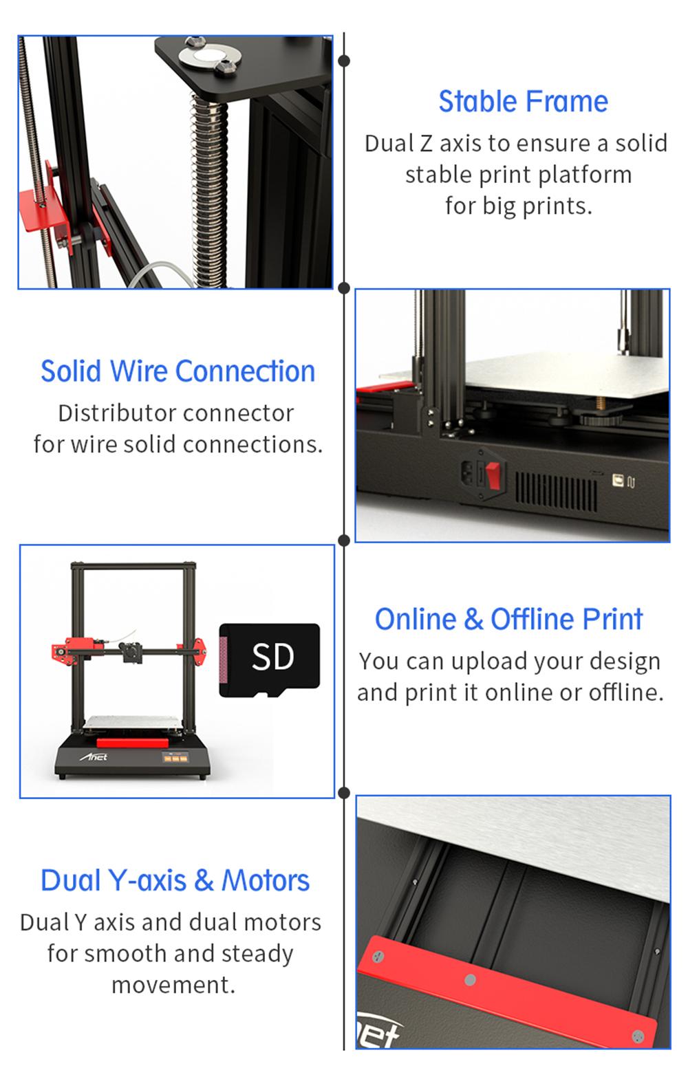 Anet ET5 3D-Drucker Bausatz - 300x300x400mm - Stabiler Rahmen - Solider Anschluss - Online und Offline Druck - Duale Y-Achse