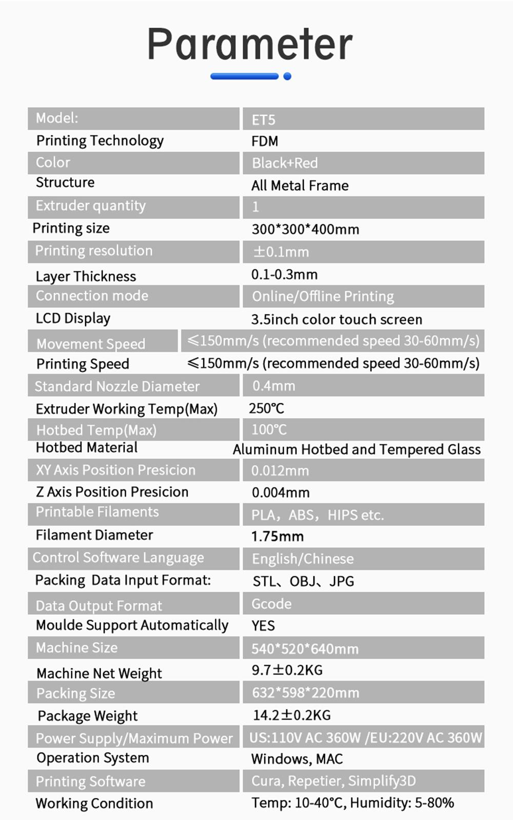 Anet ET5 3D-Drucker Bausatz - 300x300x400mm - Technische Daten