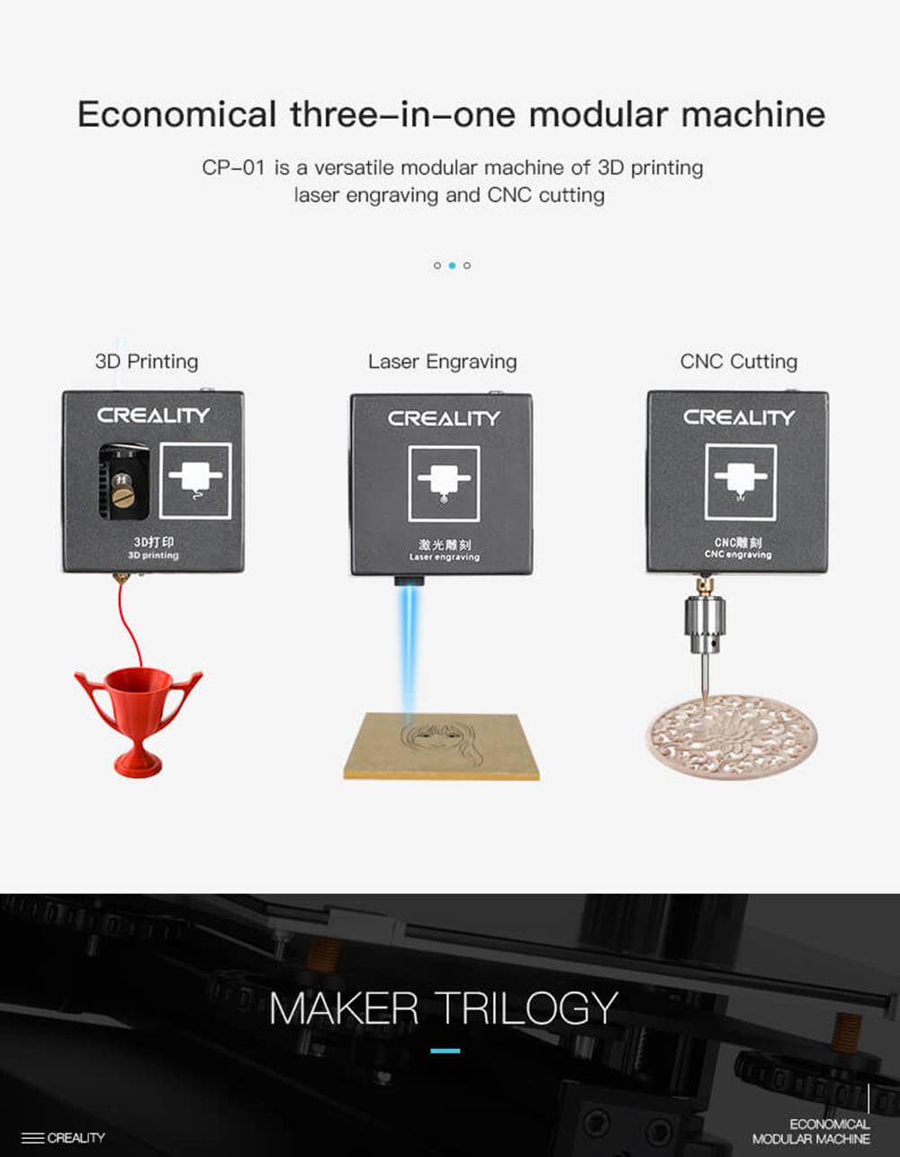 Creality3D CP-01 Multitool 3D-Drucker Bausatz - 200x200x200mm - 3D-Drucker - Laser Gravur - CNC Fräse