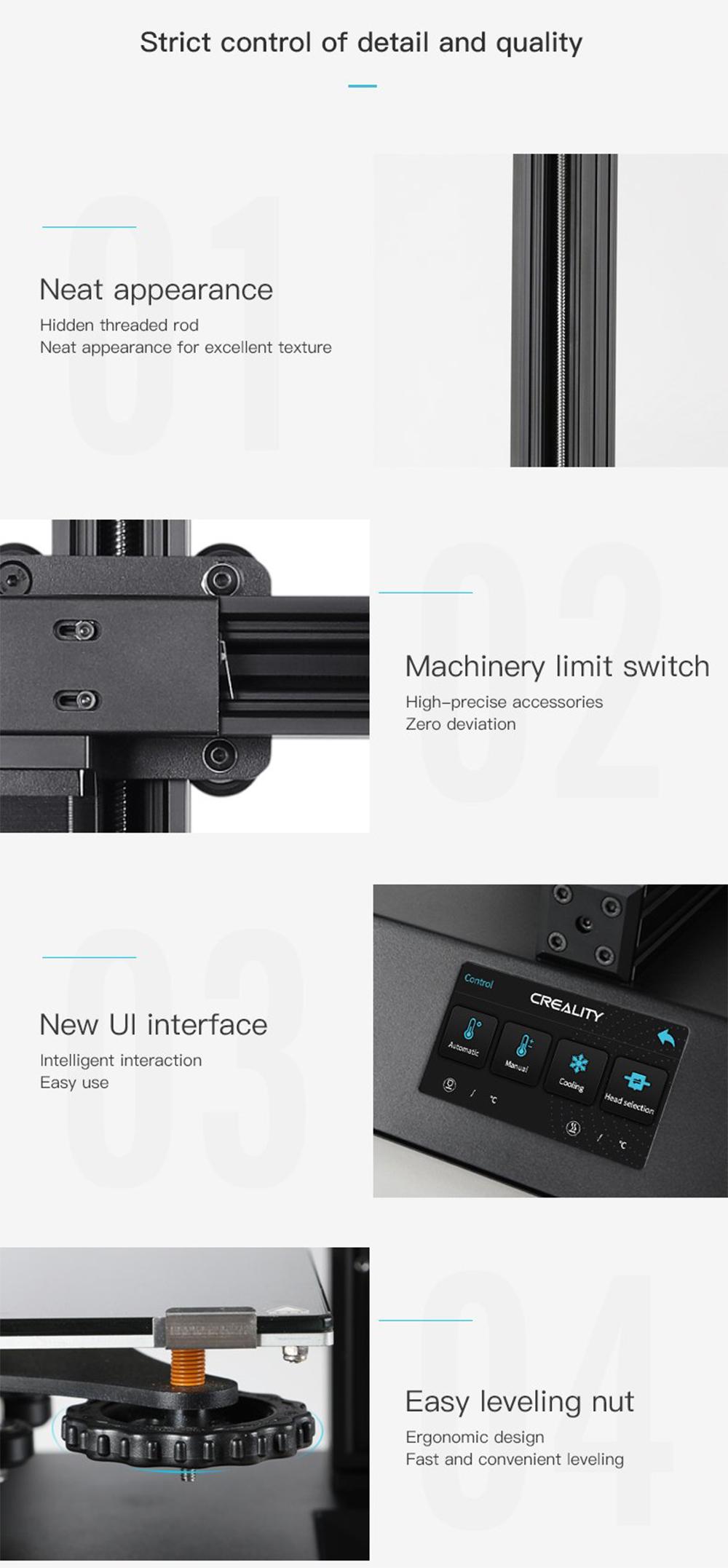 Creality3D CP-01 Multitool 3D-Drucker Bausatz - 200x200x200mm - versteckte Trapezgewindespindel - Hochpräziser Endschalter - Einfache Bedienung - Ergonomische Nivelliermuttern