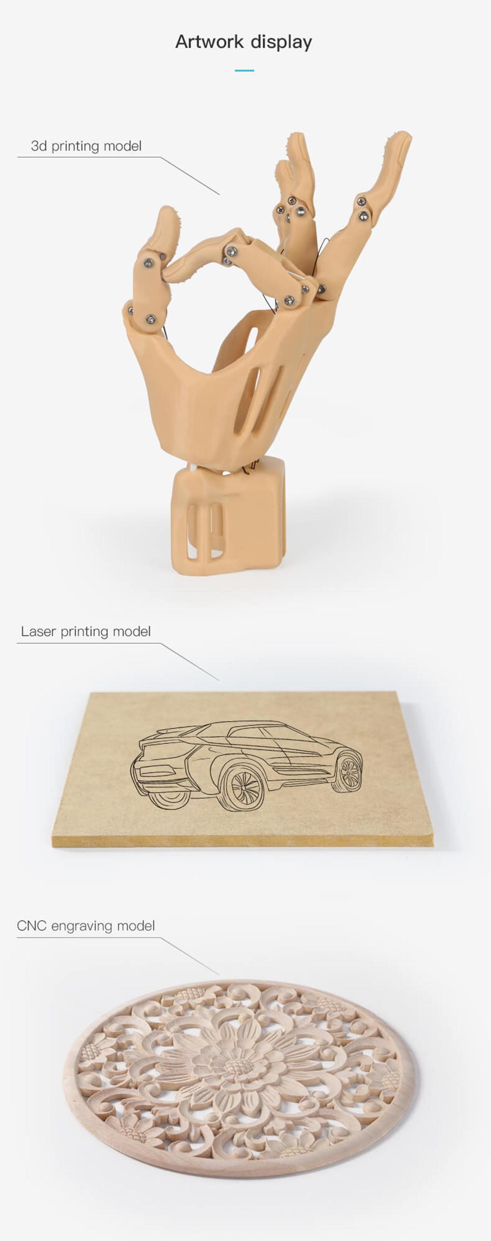 Creality3D CP-01 Multitool 3D-Drucker Bausatz - 200x200x200mm - Beispiele 3D-Drucken - Laser Gravur - CNC-Fräsen