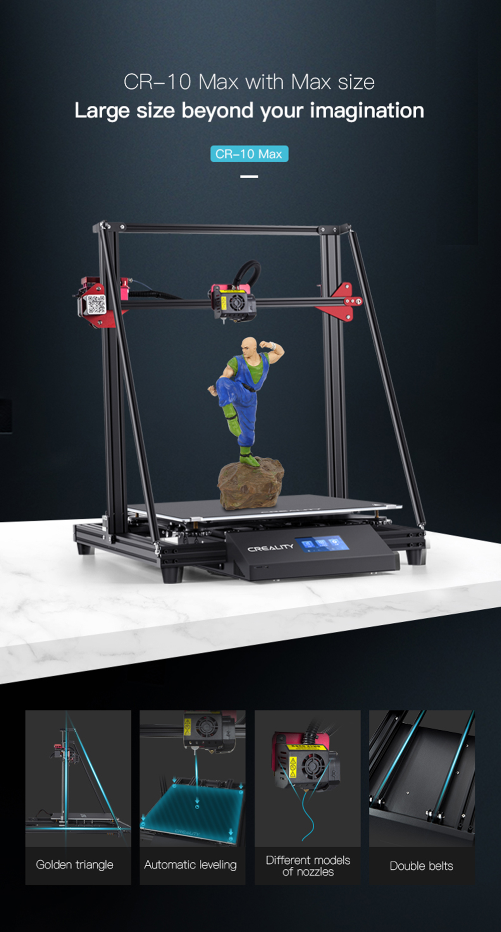 Creality3D CR-10 Max 3D-Drucker Bausatz - 450x450x470mm - Produktvorstellung - Funktionsübersicht
