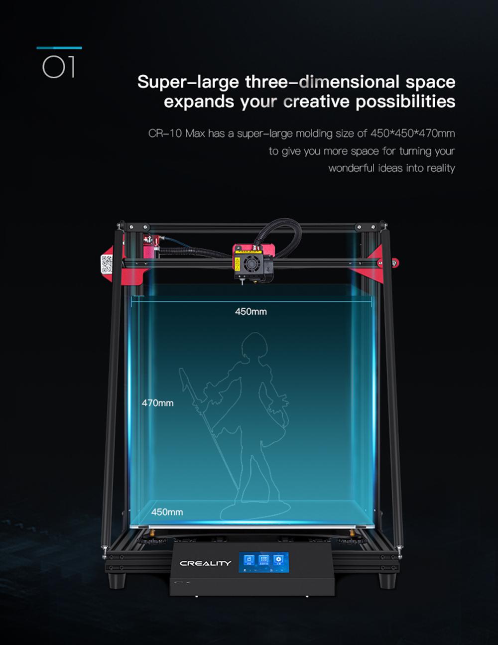 Creality3D CR-10 Max 3D-Drucker Bausatz - 450x450x470mm - Super großer Bauraum