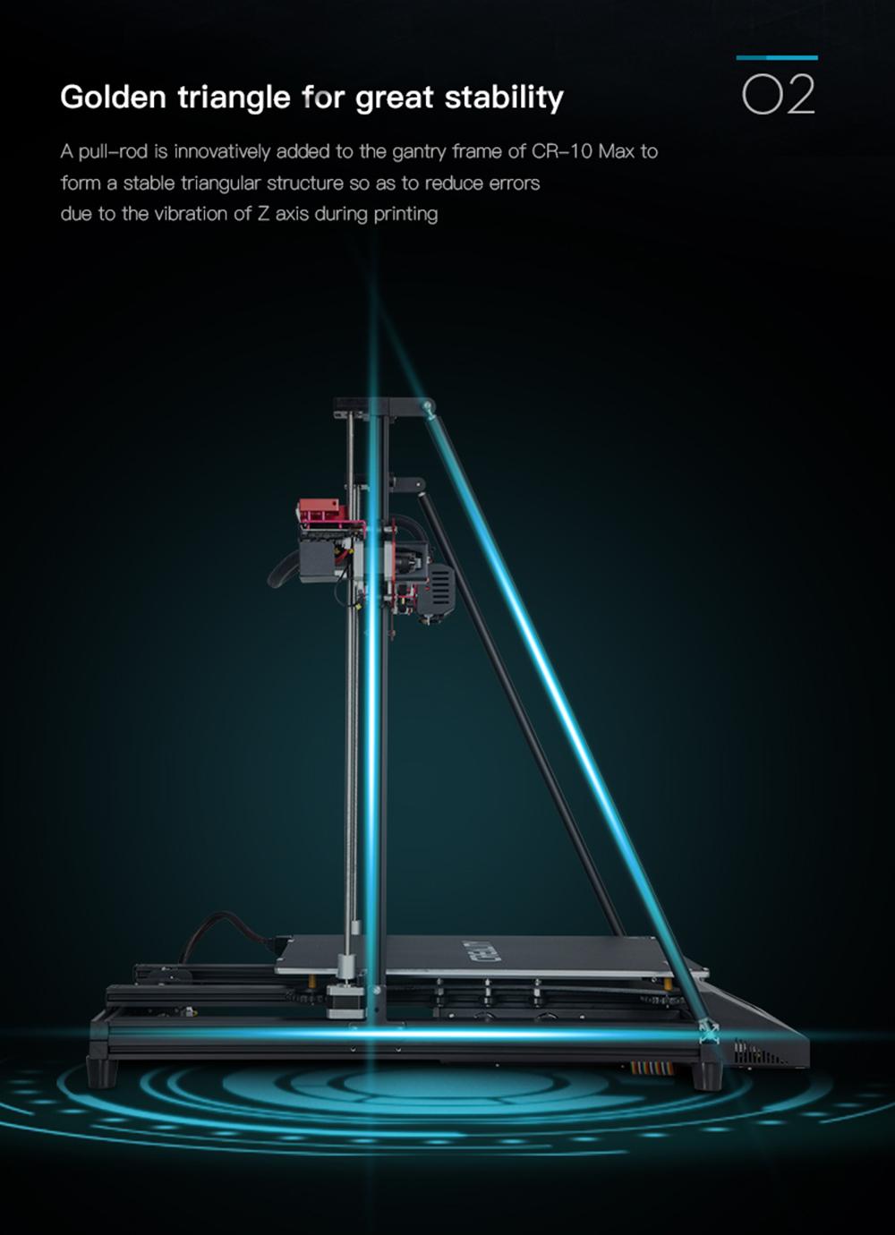 Creality3D CR-10 Max 3D-Drucker Bausatz - 450x450x470mm - Dreiecksstruktur für noch mehr Stabilität