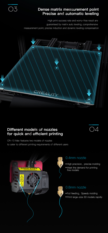Creality3D CR-10 Max 3D-Drucker Bausatz - 450x450x470mm - Auto Levelling Funktion - Verschiedene Düsen Durchmesser