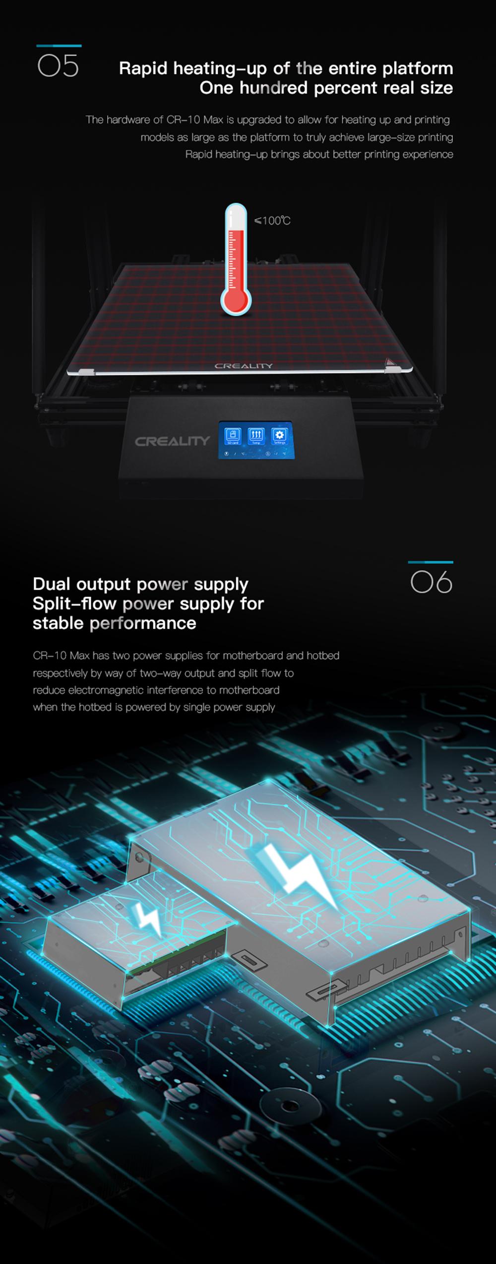 Creality3D CR-10 Max 3D-Drucker Bausatz - 450x450x470mm - Schnelles Aufheizen der Druckplattform - Getrennte Netzteile