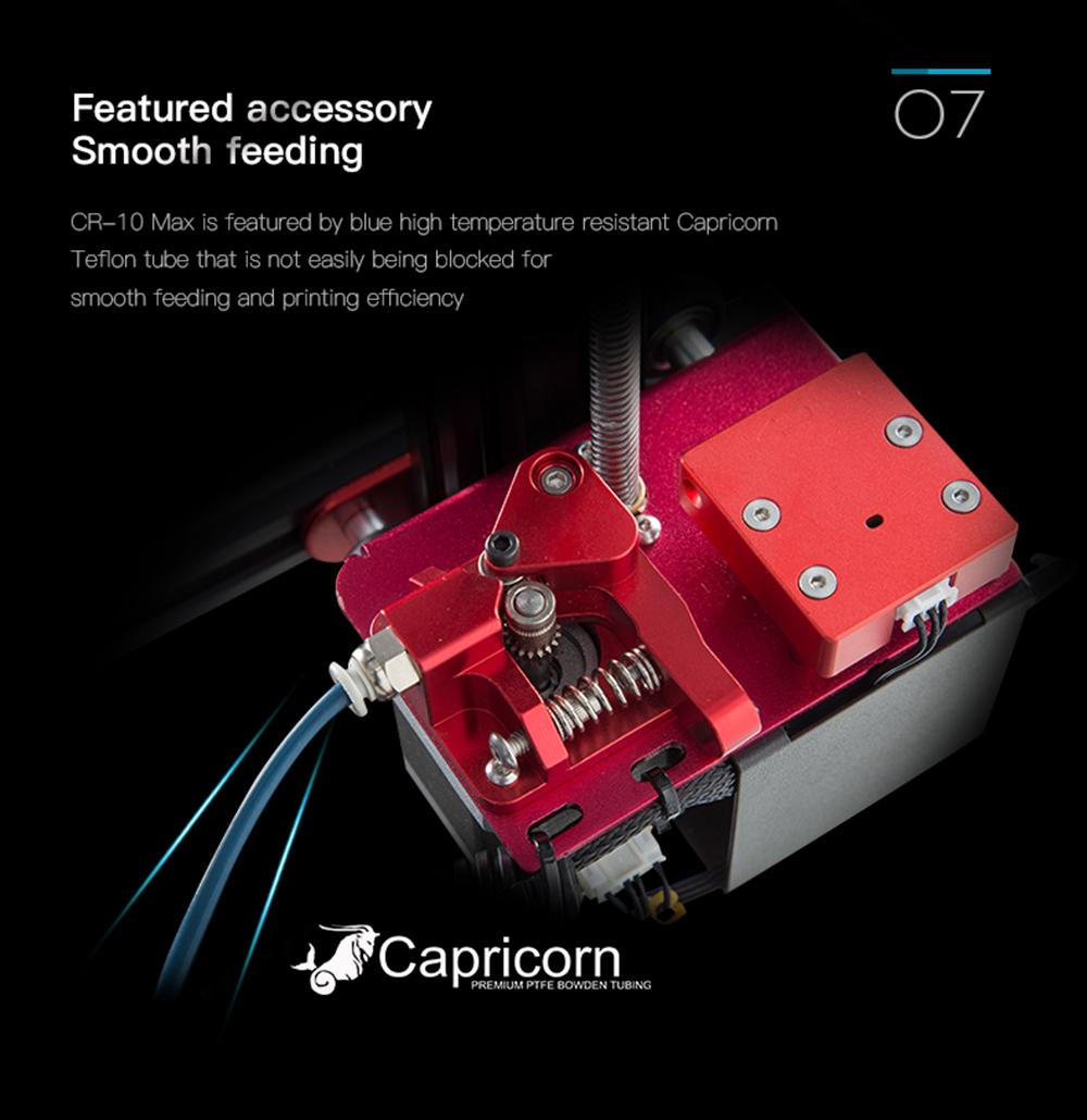 Creality3D CR-10 Max 3D-Drucker Bausatz - 450x450x470mm - Besserer Filamenttransport mit blauen Capricorn Teflonschlauch