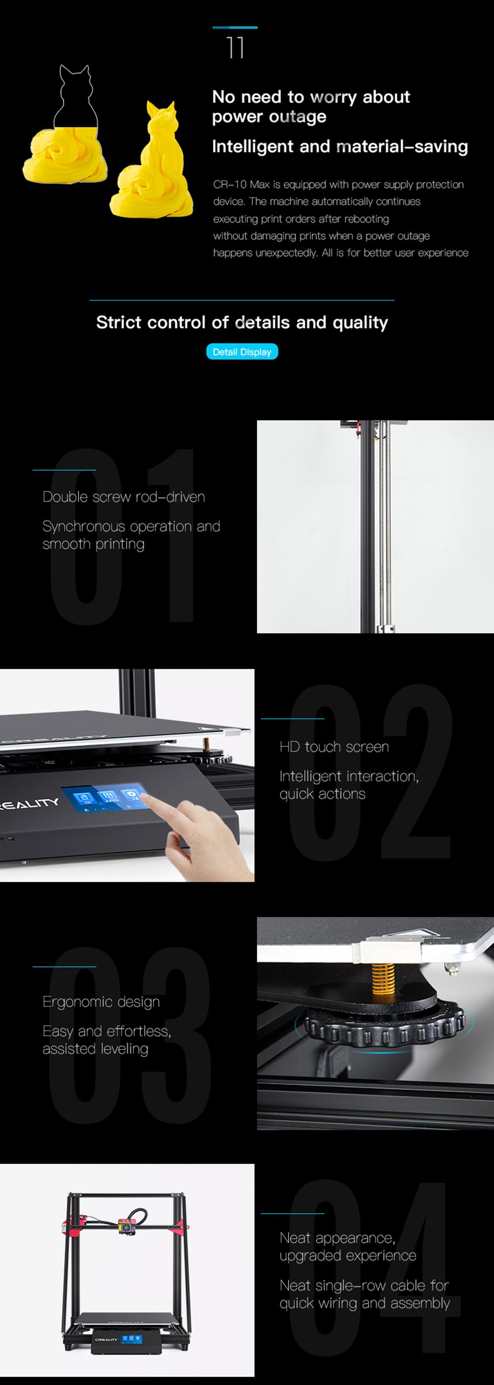 Creality3D CR-10 Max 3D-Drucker Bausatz - 450x450x470mm - Resume Printing Funktion - Dualer Z-Achsen Antrieb - HD Touch-Screen Display - Ergonomische Nivelliermuttern
