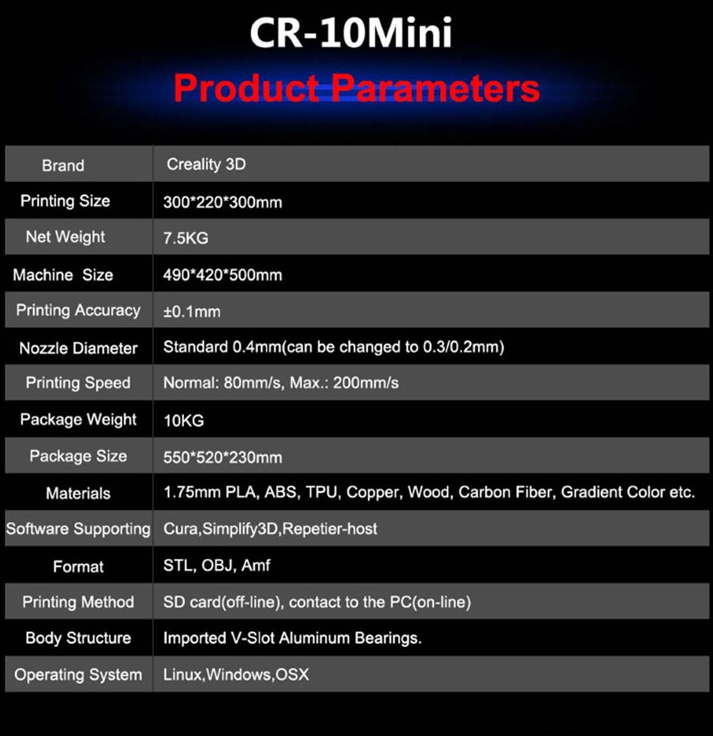 Creality3D CR-10 Mini 3D-Drucker Bausatz - 300x220x300mm - Technische Daten