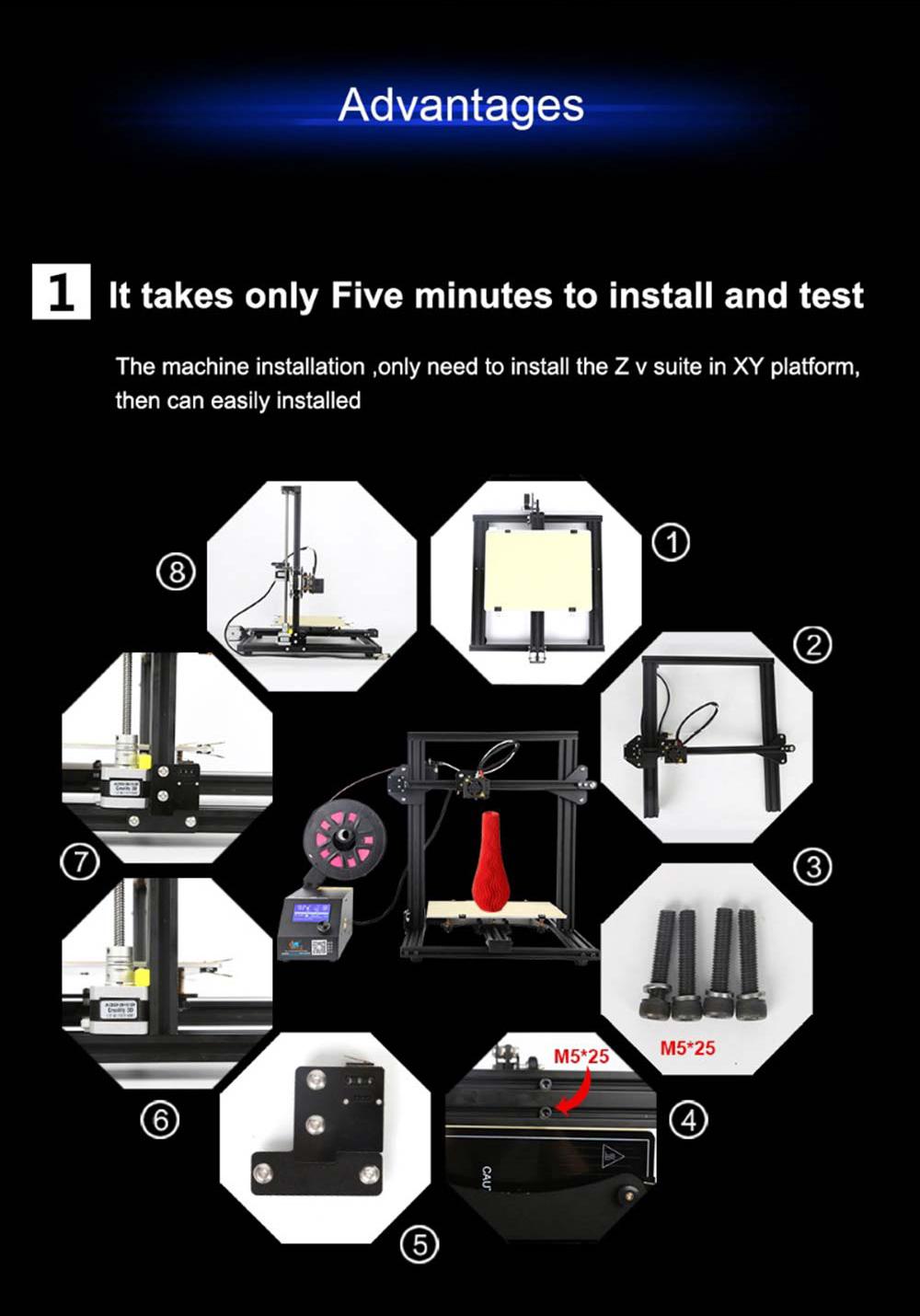 Creality3D CR-10 Mini 3D-Drucker Bausatz - 300x220x300mm - Sehr schneller Aufbau