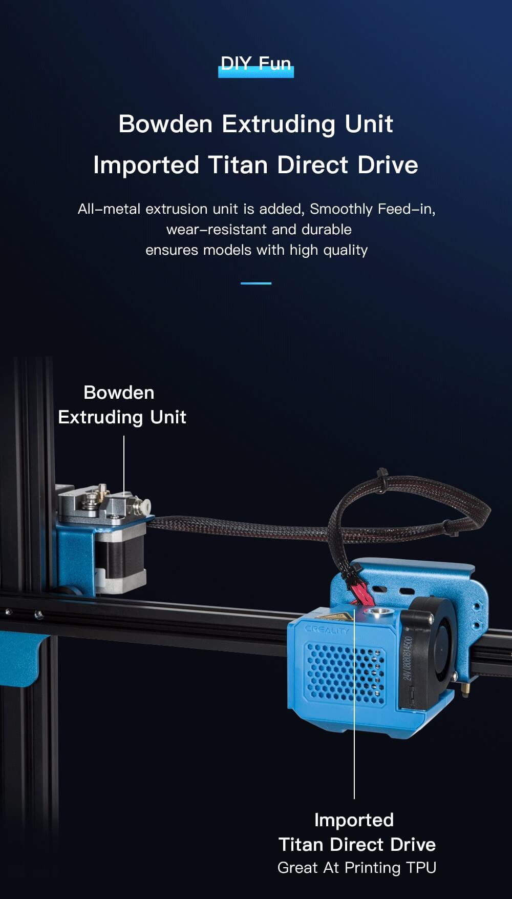 Creality CR-10 V2 3D-Drucker Bausatz - 300x300x400mm - Bowden-Extrusionseinheit - Titan Bowden Extruder