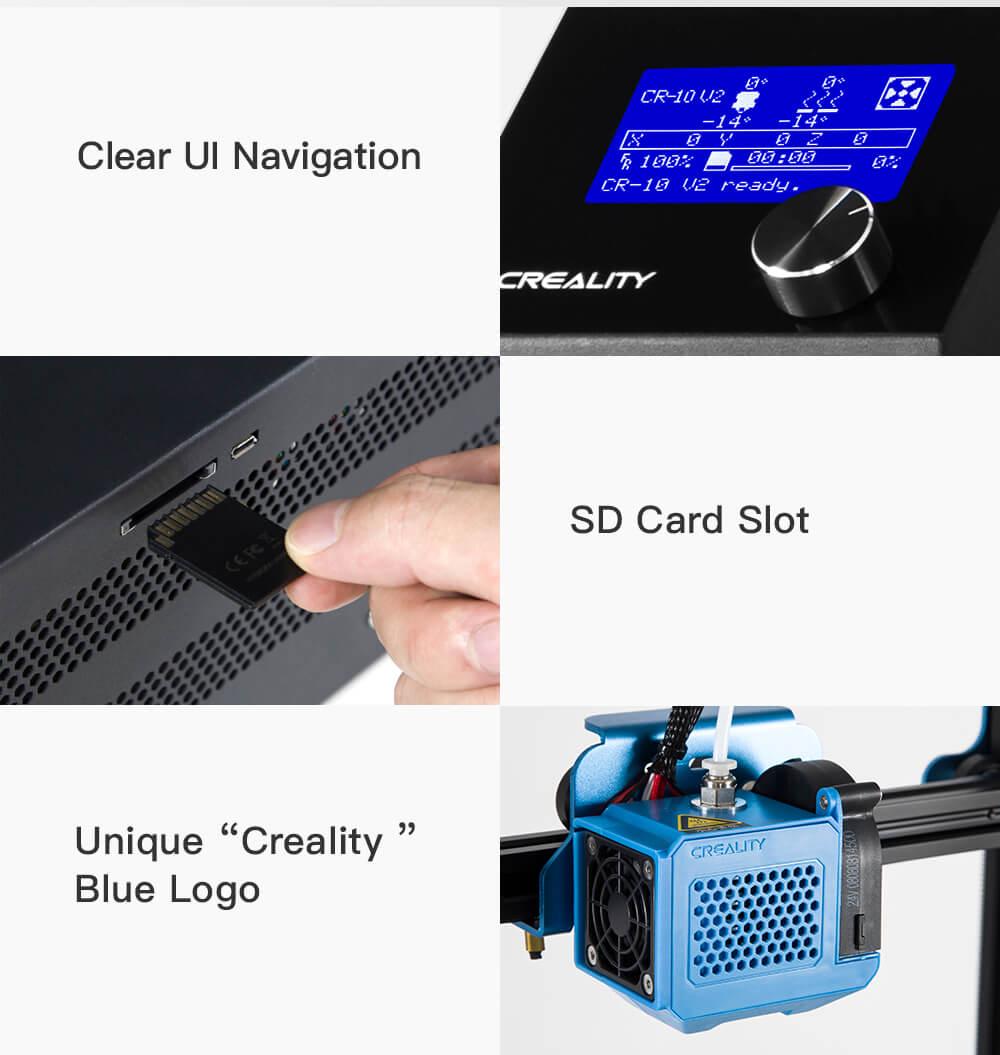 Creality CR-10 V2 3D-Drucker Bausatz - 300x300x400mm - Klare Menüführung - SD-Karten Steckplatz - Einzigartiges Creality Logo in Blau