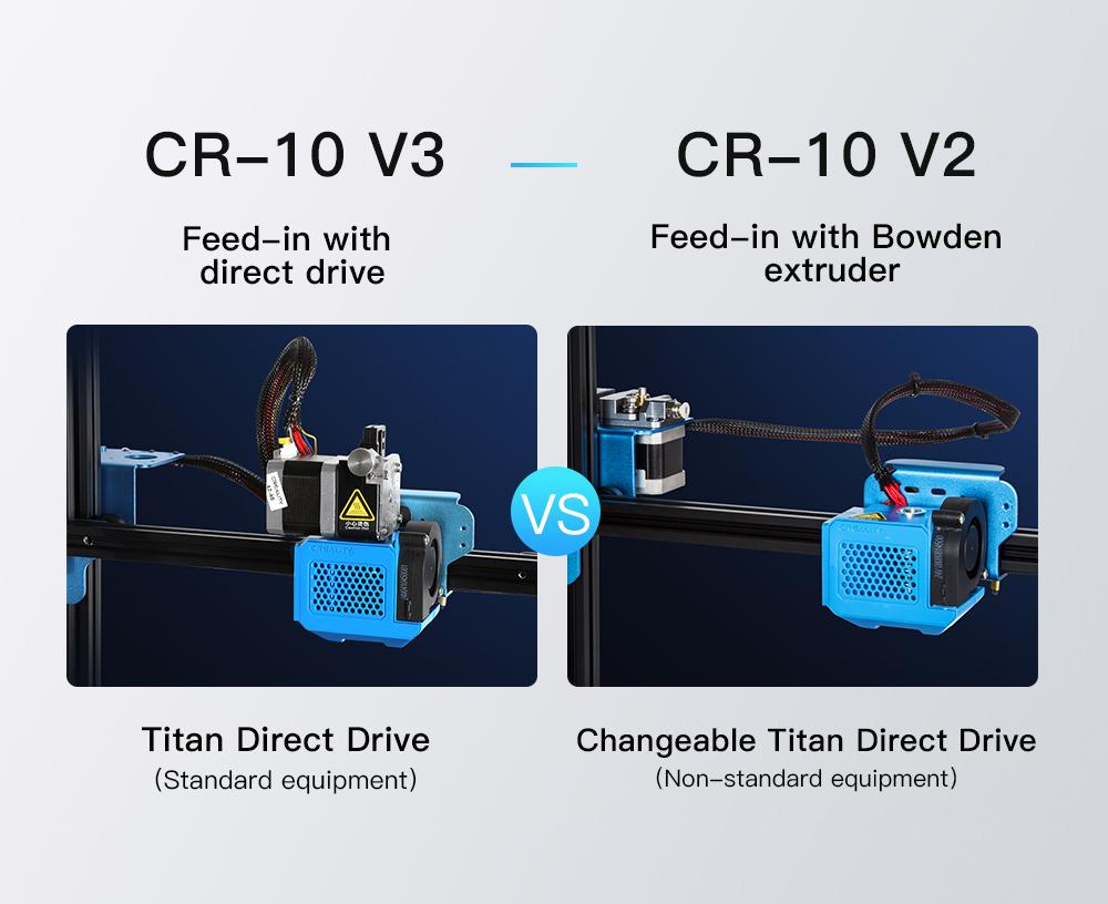 Creality3D CR-10 V3 3D-Drucker Bausatz - 300x300x400mm - Unterschied CR-10 V2 mit Bowden Extruder und CR-10 V3 mit Direkt Extruder