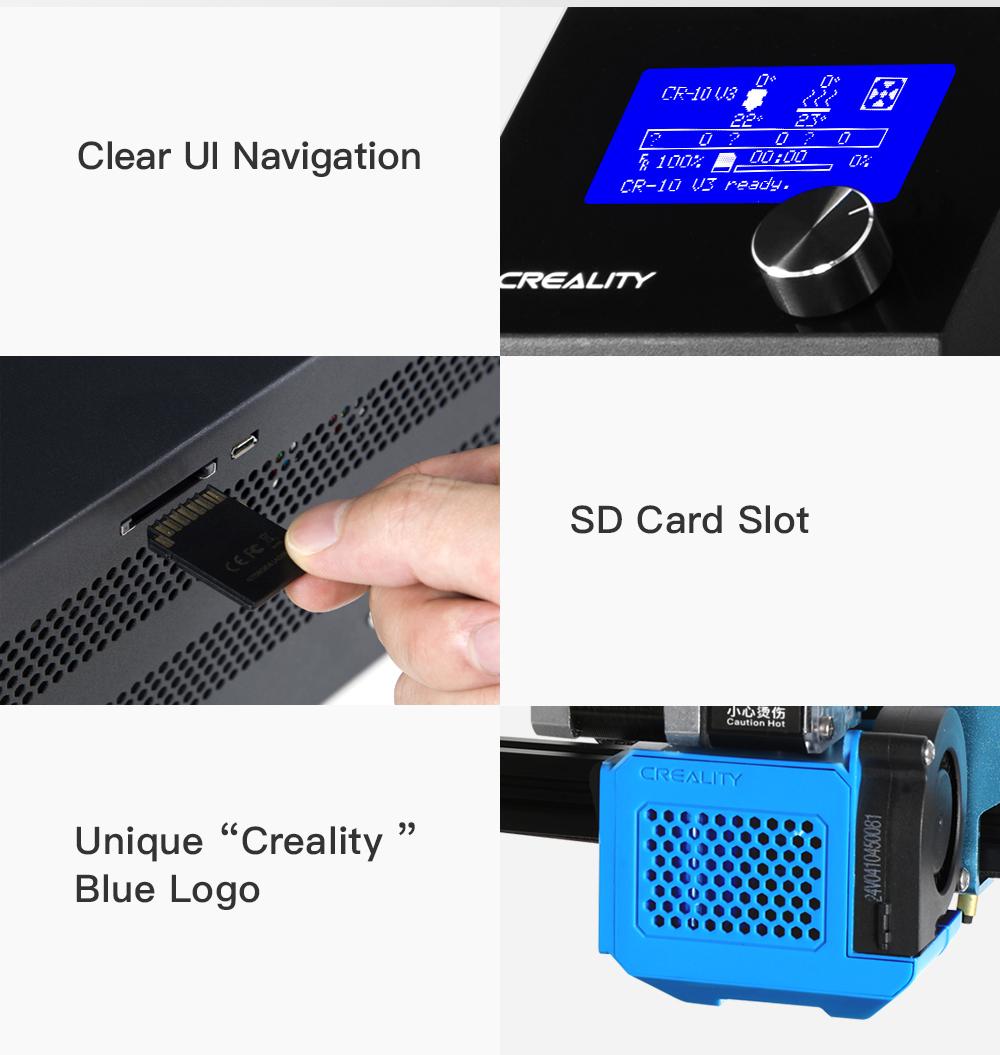 Creality3D CR-10 V3 3D-Drucker Bausatz - 300x300x400mm - Klare Menüführung - SD-Karten Steckplatz - Einzigartiges Creality Logo in Blau