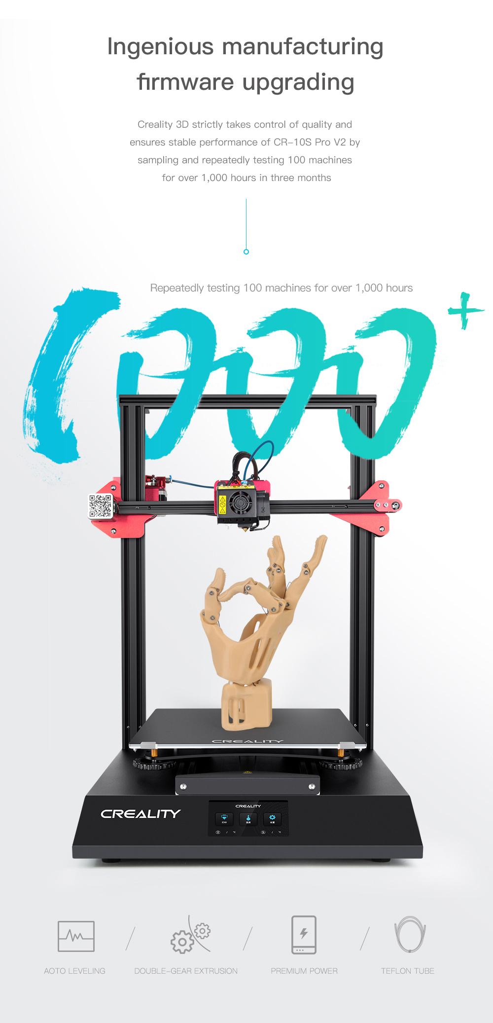Creality3D CR-10S Pro V2 3D-Drucker Bausatz - 300x300x400mm - Geniales Firmware-Update für die Fertigung