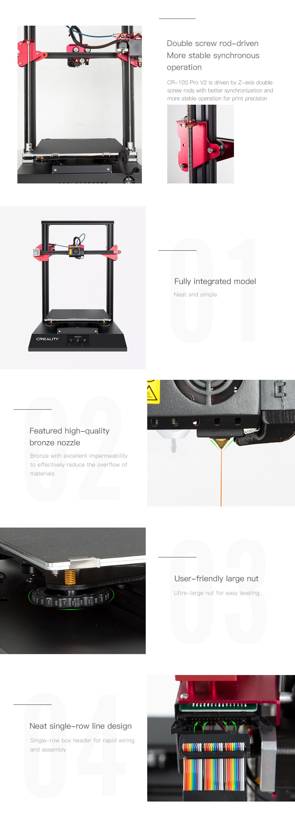 Creality3D CR-10S Pro V2 3D-Drucker Bausatz - 300x300x400mm - Duale Z-Achse - Verbesserte Messingdüse - Extragroße Nivelliermuttern - Flachbandkabel