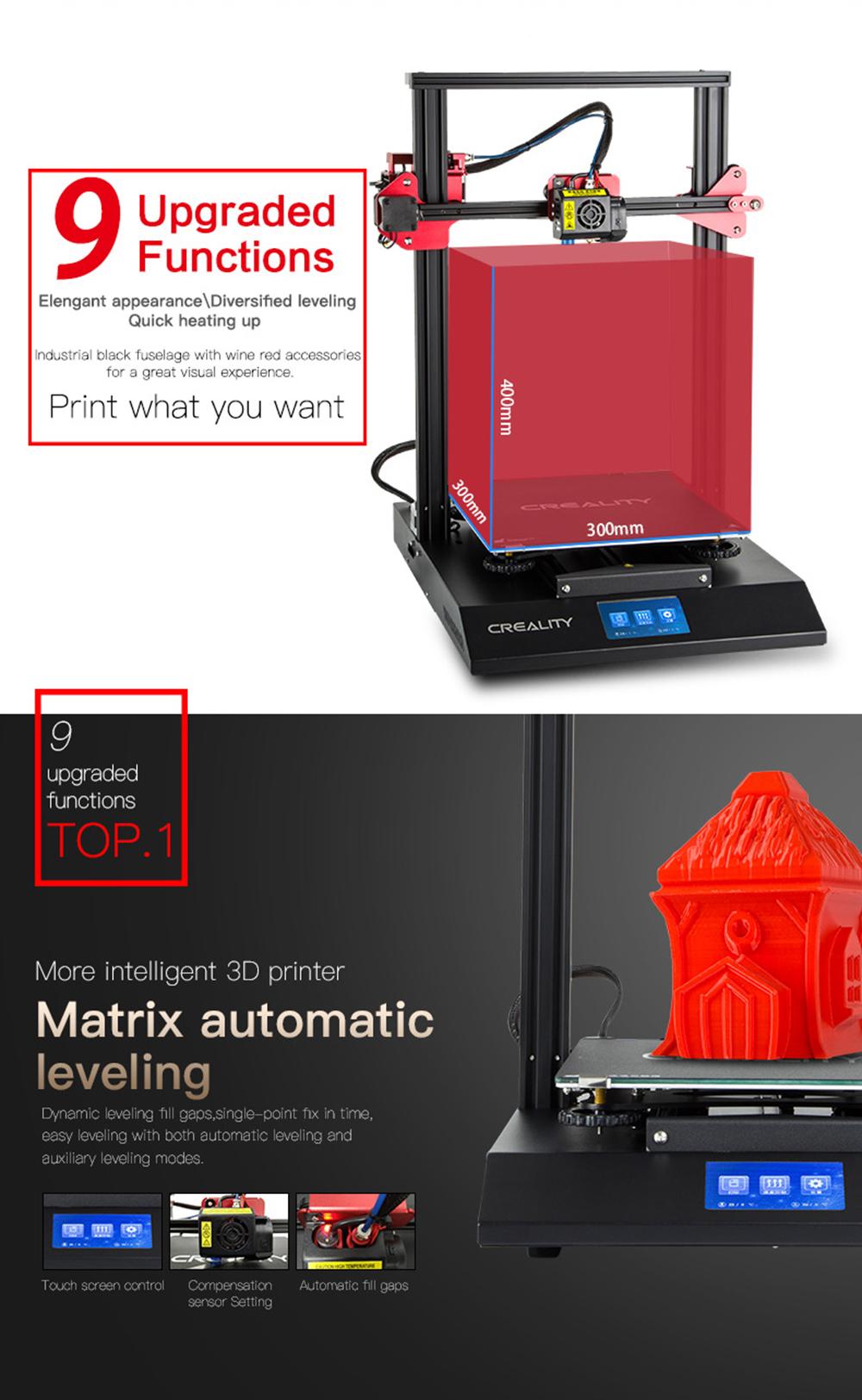 Creality3D CR-10S Pro 3D-Drucker Bausatz - 300x300x400mm - 9 verbesserte Funktionen - Automatisches Nivellieren
