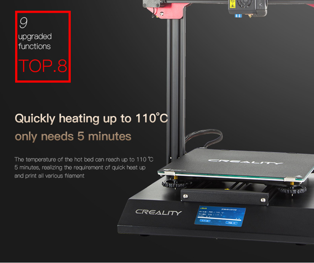 Creality3D CR-10S Pro 3D-Drucker Bausatz - 300x300x400mm - Schnelles Aufheizen der Druckplattform in weniger als 5 Minuten