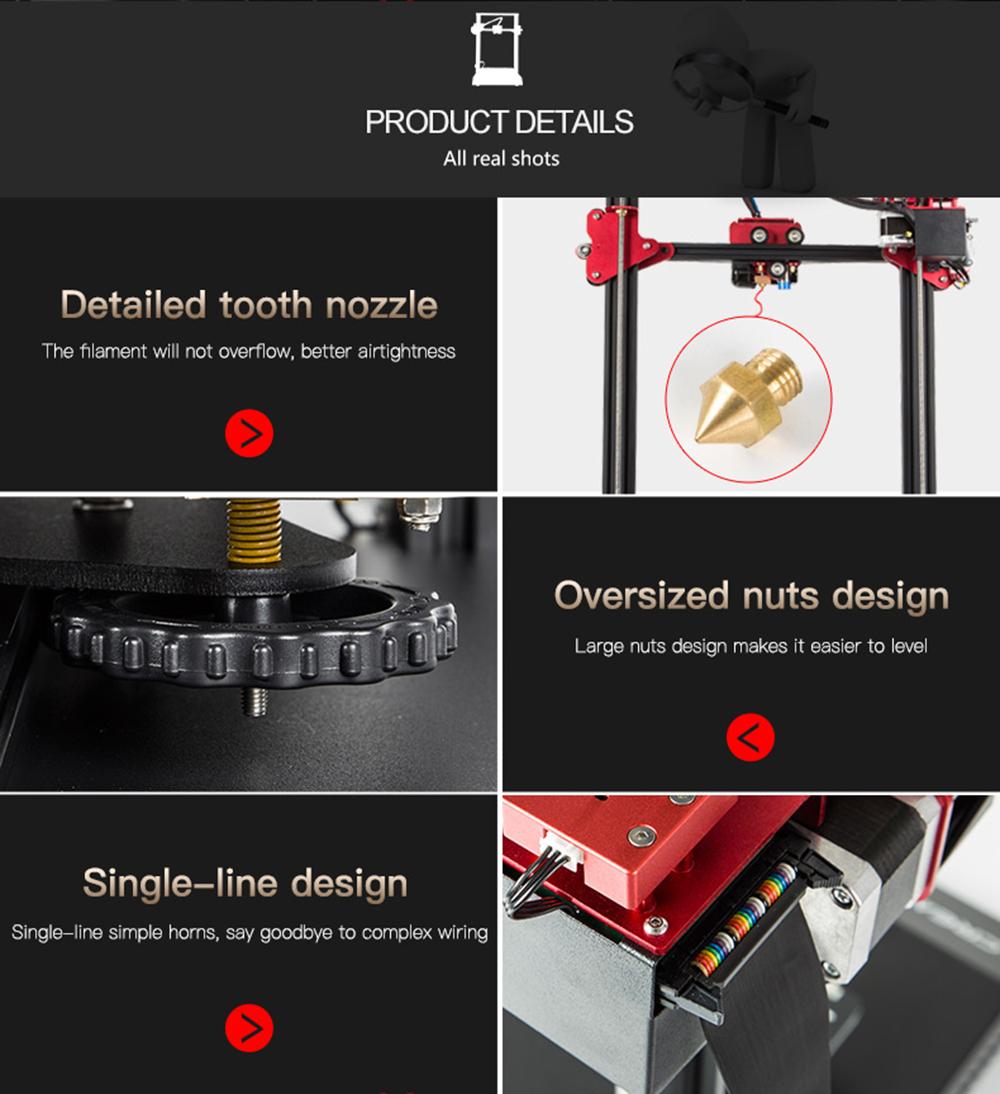 Creality3D CR-10S Pro 3D-Drucker Bausatz - 300x300x400mm - Verbessertes Düsendesign - Extragroße Nivelliermuttern - Flachbandkabel