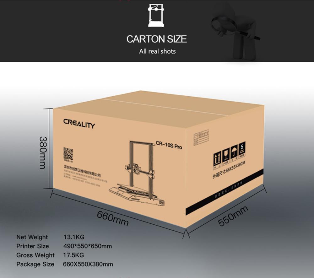 Creality3D CR-10S Pro 3D-Drucker Bausatz - 300x300x400mm - Verpackungsgröße