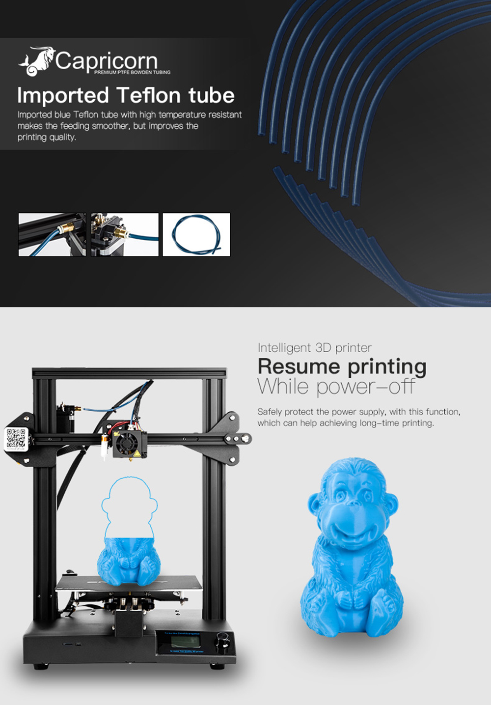 Creality3D CR-20 Pro 3D-Drucker Bausatz - 220x220x250mm - Blauer Capricorn Teflonschlauch - Resume Printing Funktion