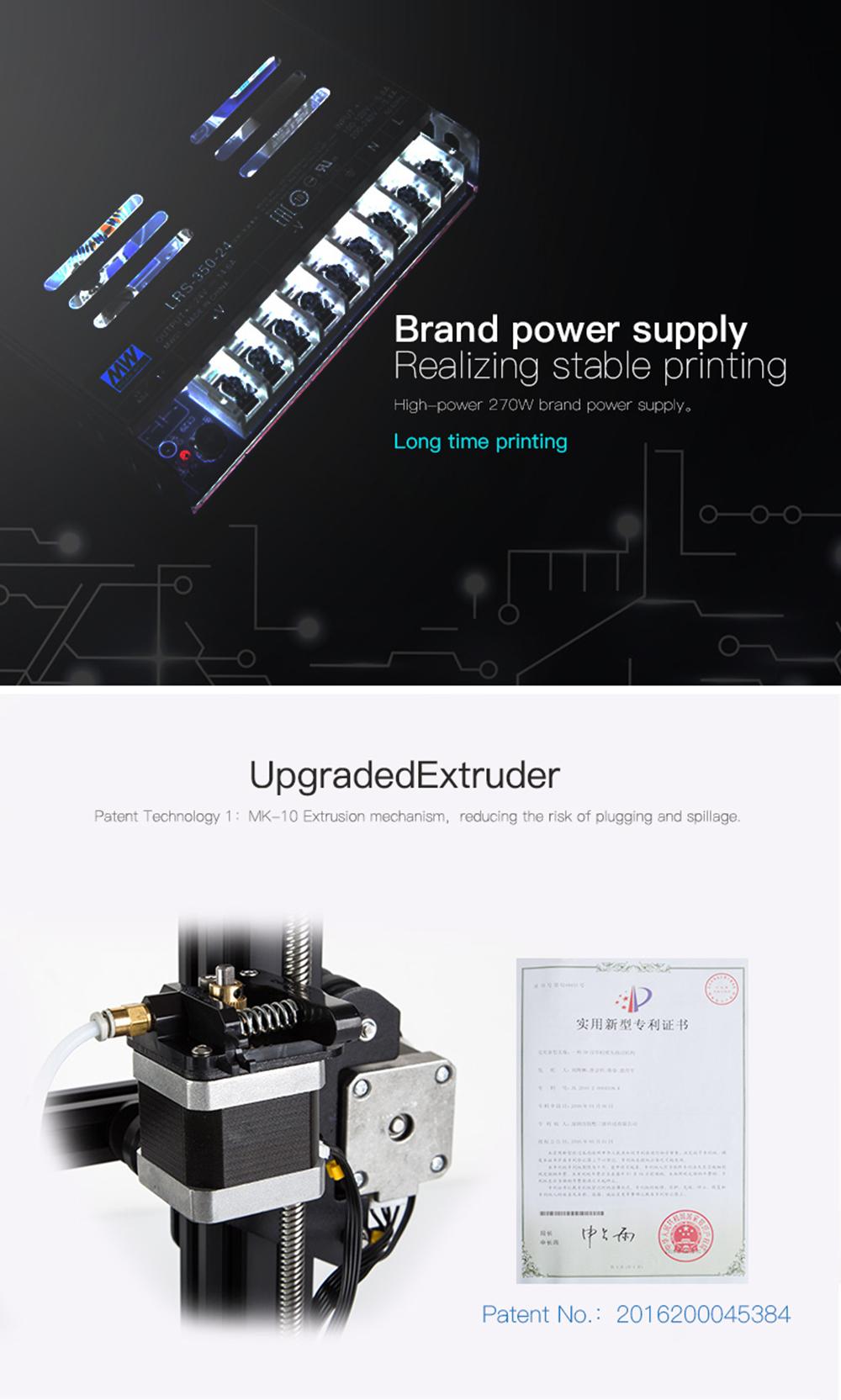 Creality3D CR-20 Pro 3D-Drucker Bausatz - 220x220x250mm - verbessertes 270W Netzteil - patentierter MK-10 Extruder