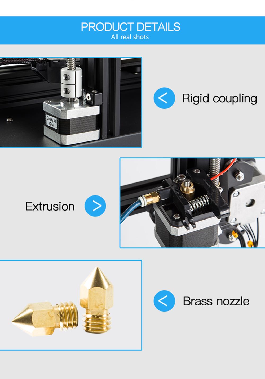 Creality3D CR-20 Pro 3D-Drucker Bausatz - 220x220x250mm - Produktdetails Starre Wellenkupplung - Extruder - Messing Düsen