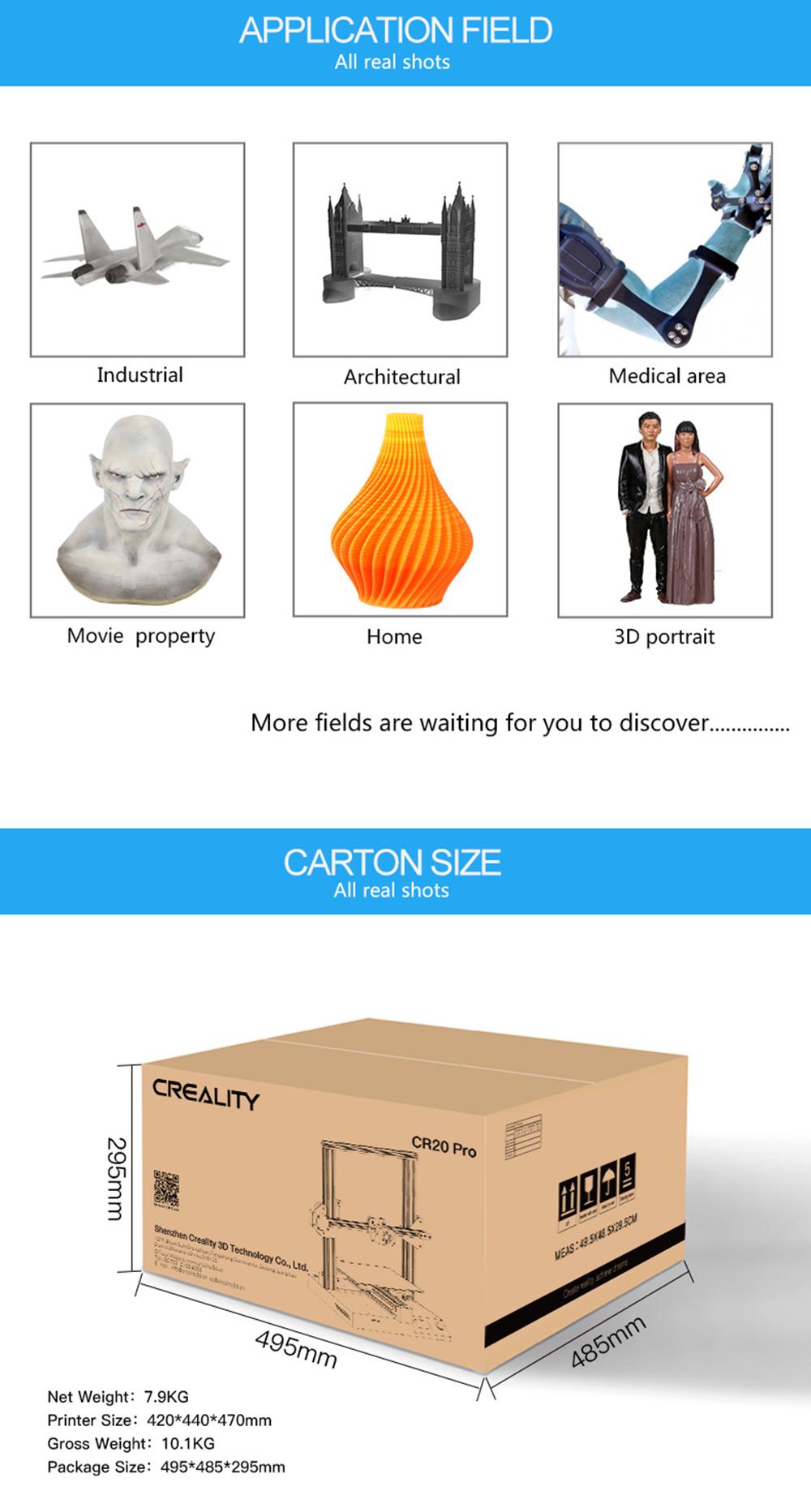 Creality3D CR-20 Pro 3D-Drucker Bausatz - 220x220x250mm - Anwendungsbeispiele - Versandmaße