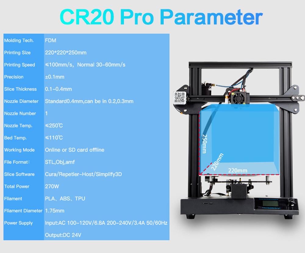 Creality3D CR-20 Pro 3D-Drucker Bausatz - 220x220x250mm - Technische Daten