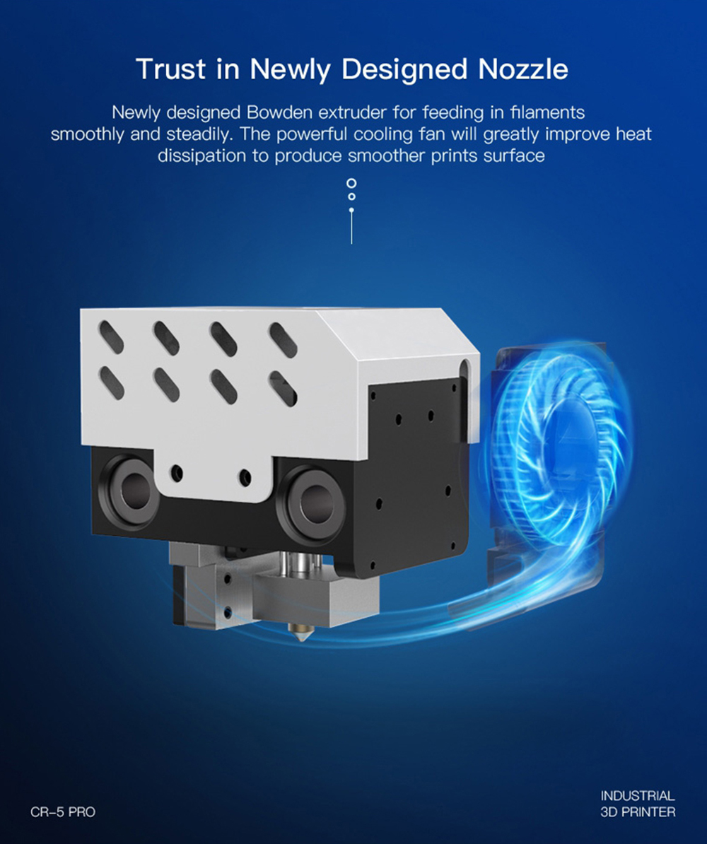 Creality3D CR-5 Pro 3D-Drucker - 300x225x380mm - Neu entwickelter Bowden Extruder mit leistungsstarken Kühlungslüfter