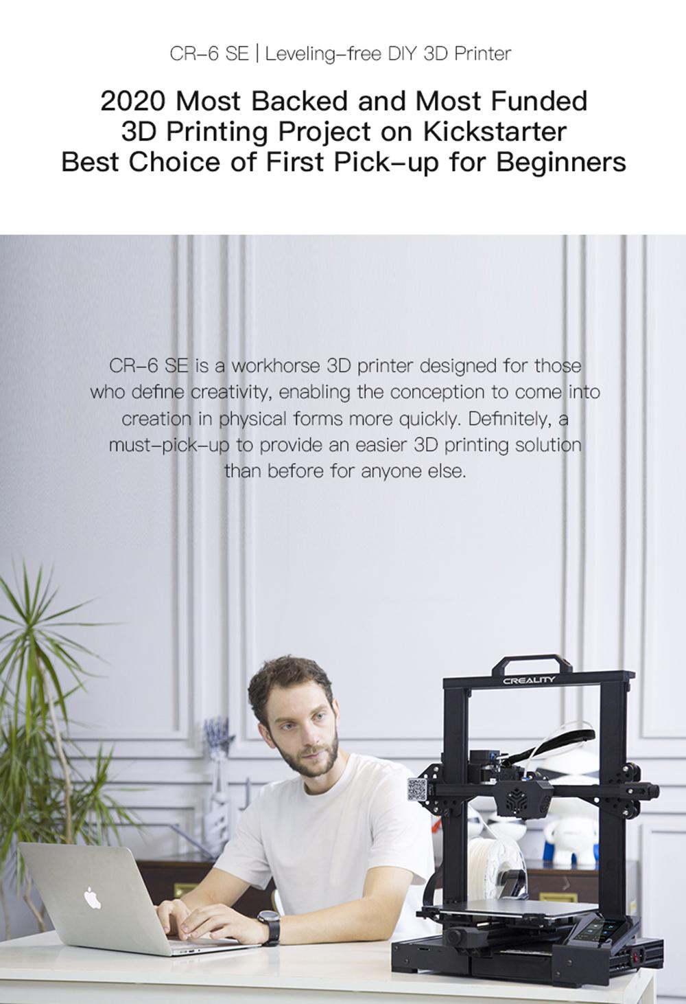 Creality3D CR-6 SE 3D-Drucker Bausatz - 235x235x250mm - Meist unterstütztes Projekt auf Kickstarter