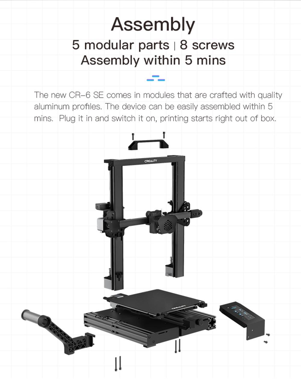 Creality3D CR-6 SE 3D-Drucker Bausatz - 235x235x250mm - Modularer Aufbau