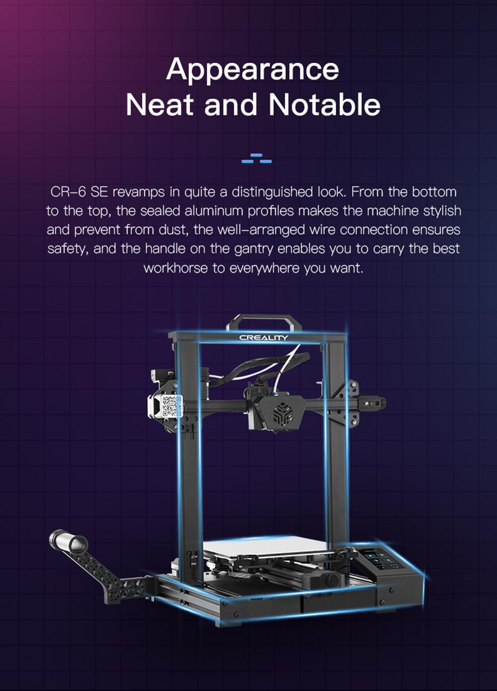 Creality3D CR-6 SE 3D-Drucker Bausatz - 235x235x250mm - Ordentliches und auffälliges Design