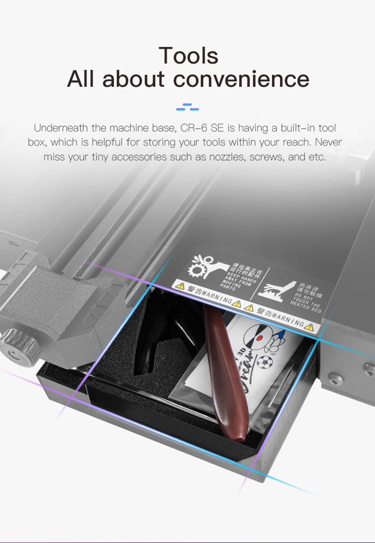 Creality3D CR-6 SE 3D-Drucker Bausatz - 235x235x250mm - Werkzeugfach