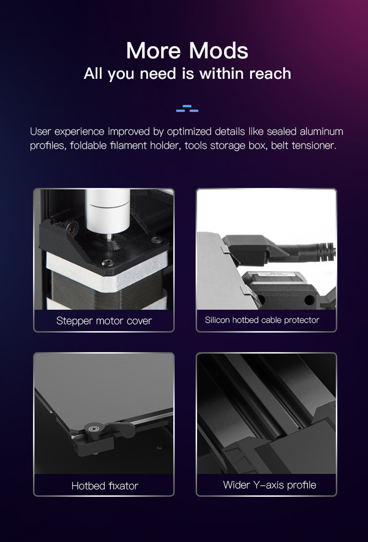 Creality3D CR-6 SE 3D-Drucker Bausatz - 235x235x250mm - Schrittmotor Abdeckung - Heizbettkabelschutz - Heizbett Fixierung - Breitere Y-Achsen Profile