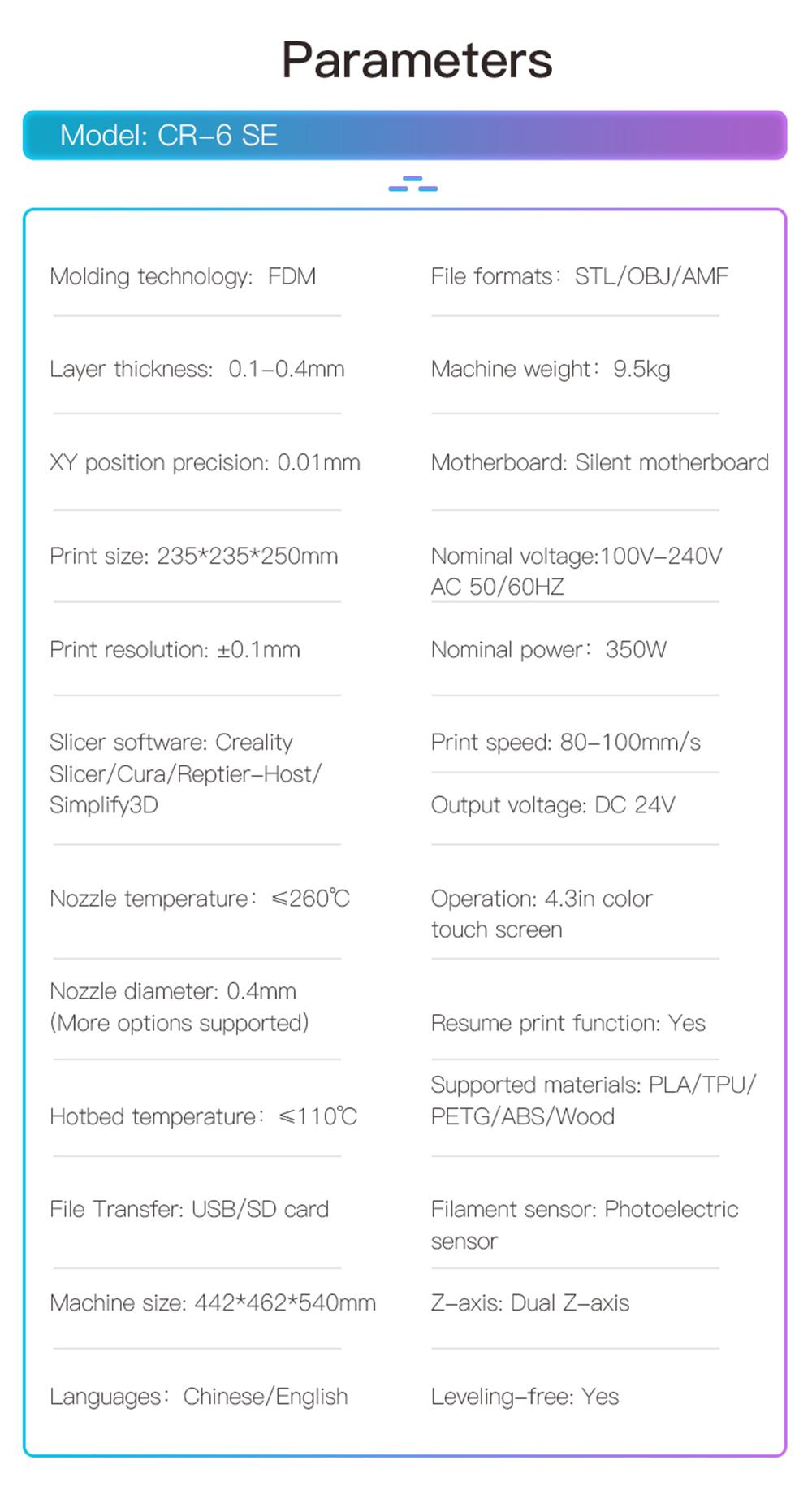 Creality3D CR-6 SE 3D-Drucker Bausatz - 235x235x250mm - Technische Daten