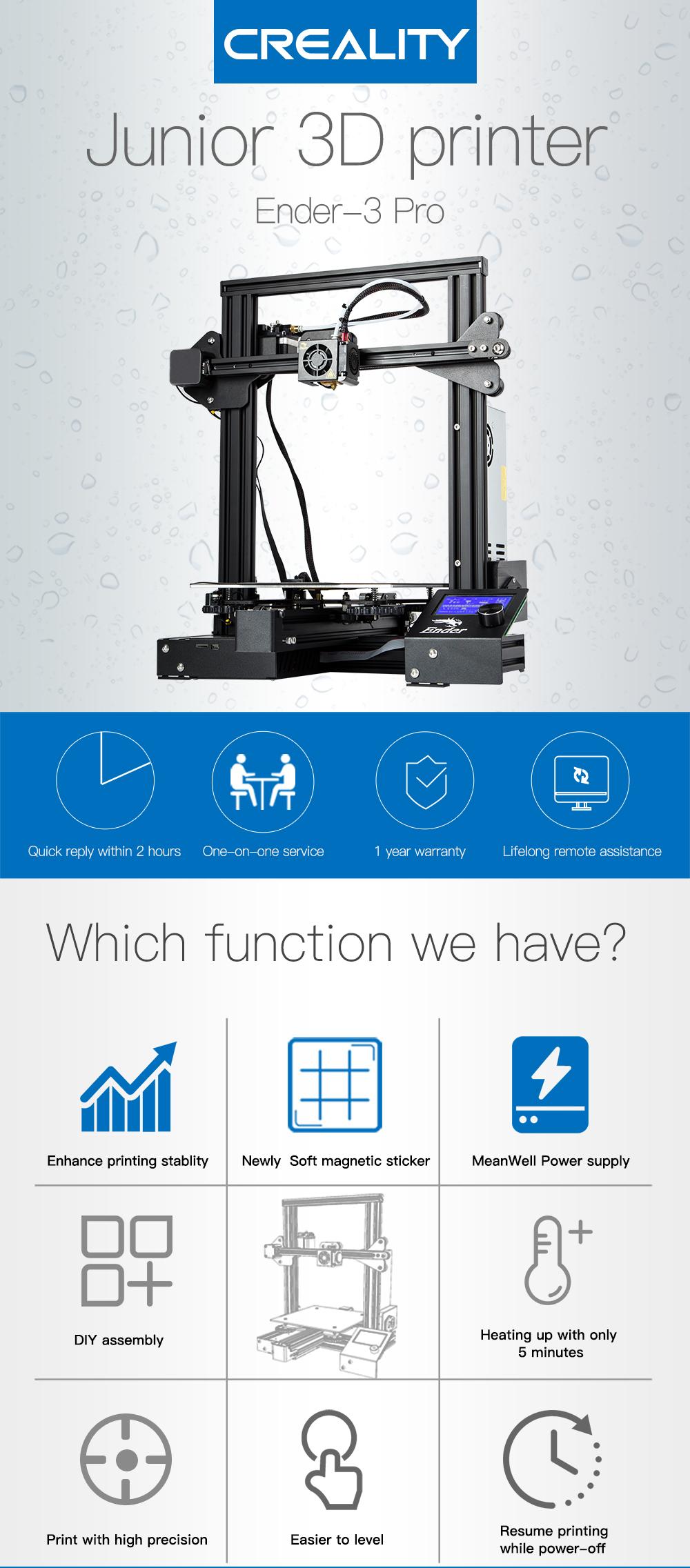 Creality3D Ender 3 Pro 3D-Drucker Bausatz - 220x220x250mm - Funktionsübersicht