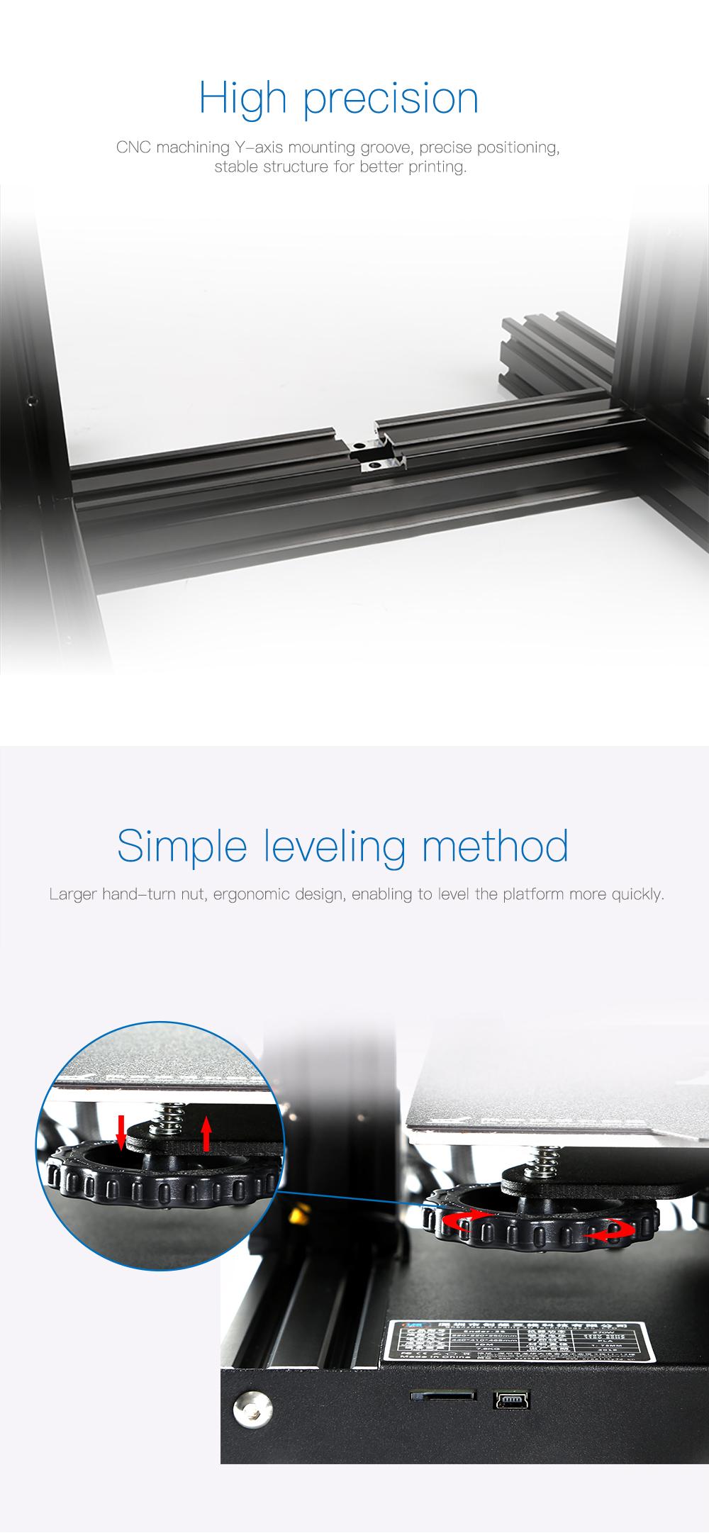 Creality3D Ender 3 Pro 3D-Drucker Bausatz - 220x220x250mm - CNC gefräßte Y-Schienenführung - Einfaches Nivellieren