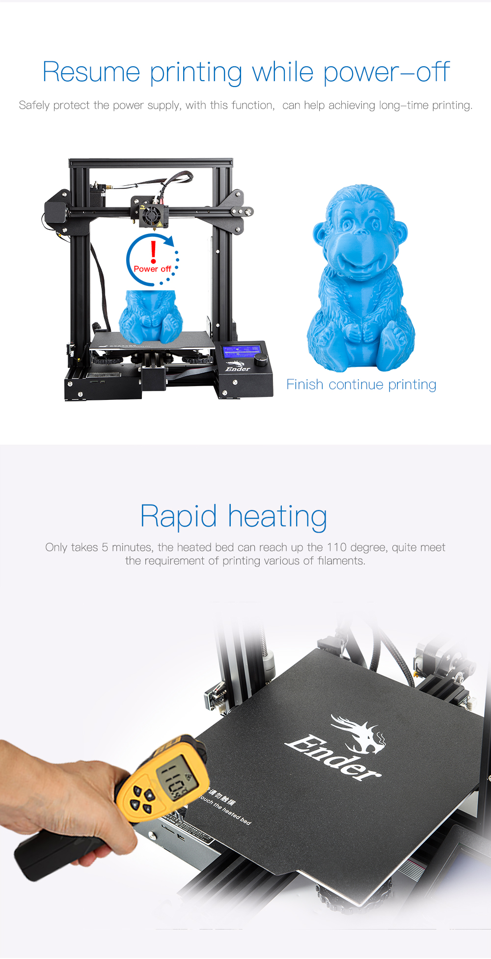 Creality3D Ender 3 Pro 3D-Drucker Bausatz - 220x220x250mm - Resume Printing Funktion - Schnelles Aufheizen der Druckplattform