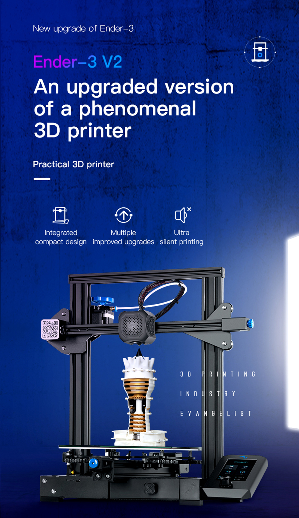 Creality3D Ender 3 V2 3D-Drucker Bausatz - 220x220x250mm - Verbesserte Version des Ender 3