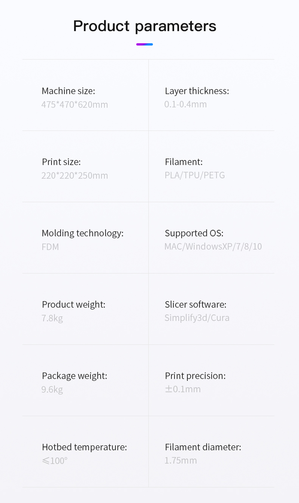 Creality3D Ender 3 V2 3D-Drucker Bausatz - 220x220x250mm - Technische Daten