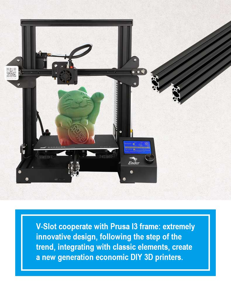 Creality3D Ender 3 3D-Drucker Bausatz - 220x220x250mm - V-Slot Aluminium Rahmen