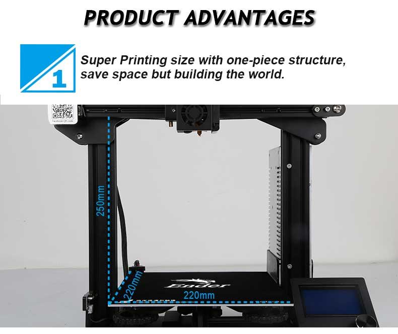 Creality3D Ender 3 3D-Drucker Bausatz - 220x220x250mm - Bauraumgröße